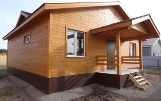 Обработка имитации бруса снаружи дома